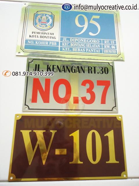 Contoh Plat Nomor Rumah