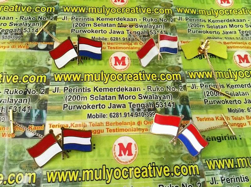 Pin Bendera Kerjasama Indonesia Belanda - mulyocreative.net